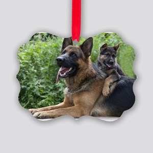 Picture Ornament - German Shepherd and Puppy