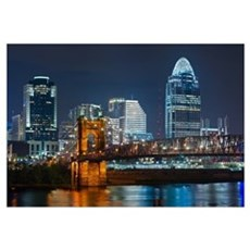 Cincinnati skyline. Framed Print