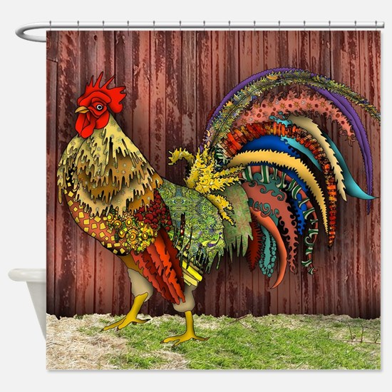 Rooster by the Barn Shower Curtain