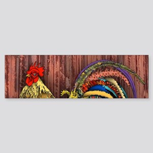 Rooster by the Barn Bumper Sticker