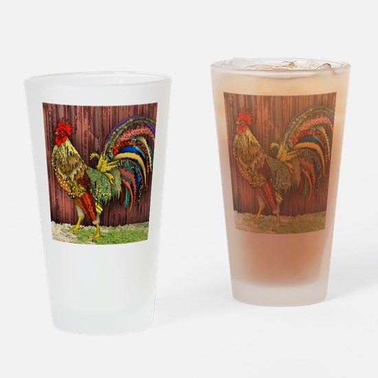 Rooster by the Barn Drinking Glass