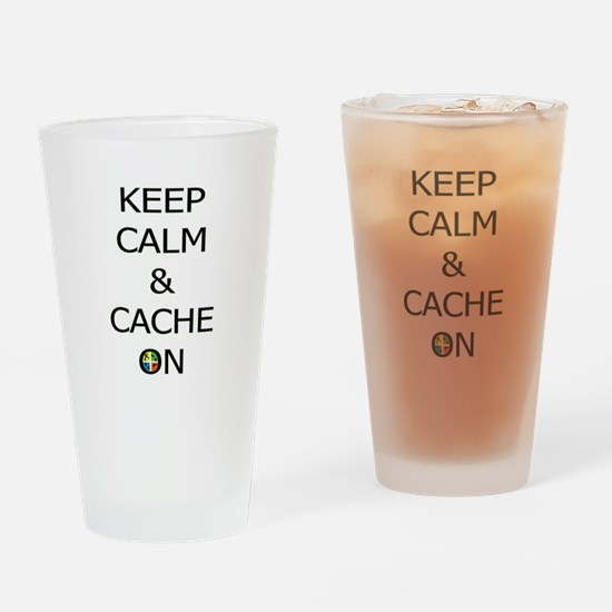 Keep Calm & Cache On Drinking Glass