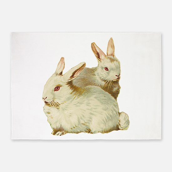 White easter rabbits 5'x7'Area Rug
