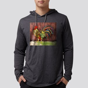 Rooster by the Barn Mens Hooded Shirt