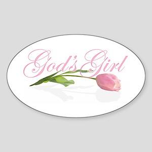 God's Girl Tulip Oval Sticker