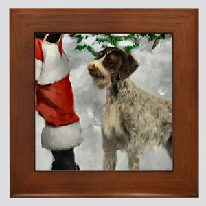 German Wirehaired Pointer Christmas Framed Tile