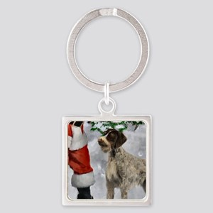 German Wirehaired Pointer Christma Square Keychain