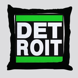 detroit green Throw Pillow