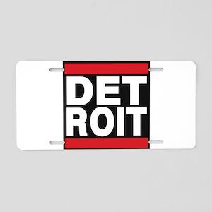 detroit red Aluminum License Plate