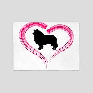 Heart My Collie 5'x7'Area Rug