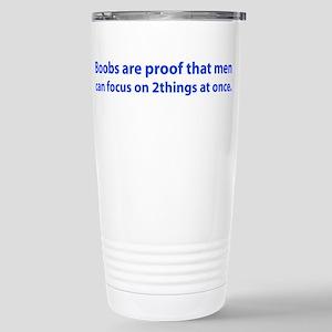 2 boobs blue Travel Mug