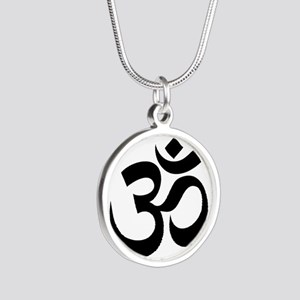 om Silver Round Necklace