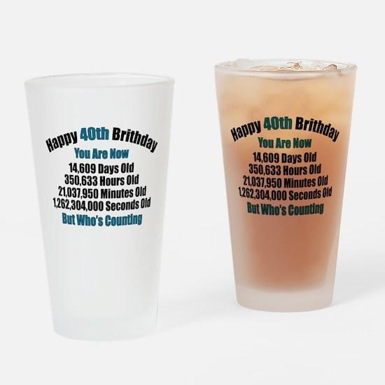 40th Birthday T-shirt Drinking Glass
