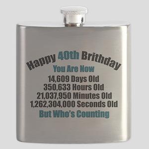 40th Birthday T-shirt Flask
