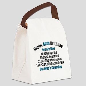 40th Birthday T-shirt Canvas Lunch Bag