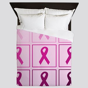 pink ribbon quaddddd Queen Duvet