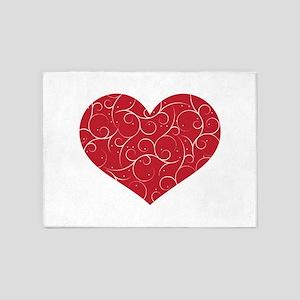 Red Swirly Heart 5'x7'Area Rug