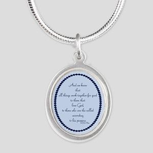 Romans 8 28 Bible Verse blue Silver Oval Necklace