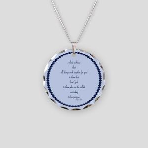 Romans 8 28 Bible Verse blue Necklace