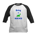 Being 7 Rocks! Dinosaur Kids Baseball Jersey