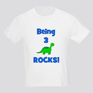 Being 3 Rocks! Dinosaur Kids T-Shirt