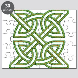 Celtic knot square orange and green Puzzle