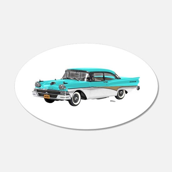 1958 Ford Fairlane 500 Light Blue & White Wall Decal