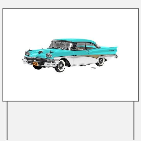 1958 Ford Fairlane 500 Light Blue & White Yard Sig