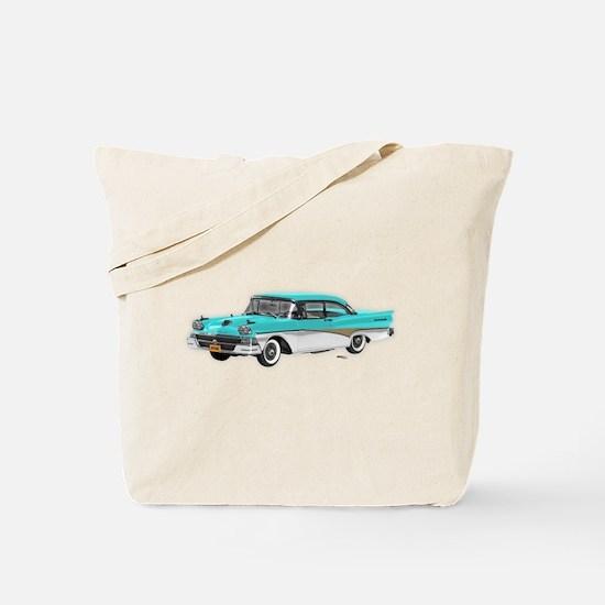 1958 Ford Fairlane 500 Light Blue & White Tote Bag