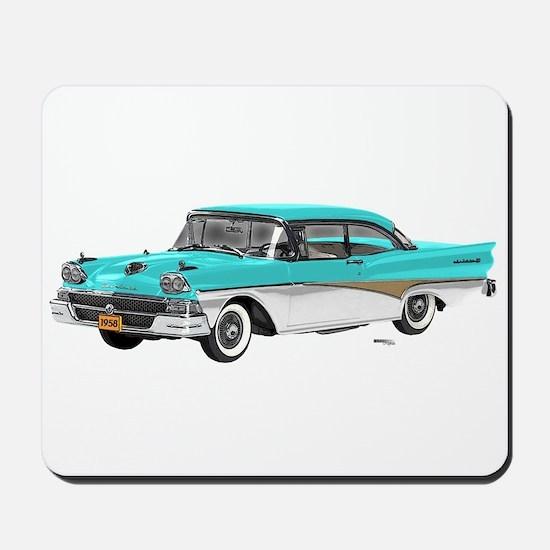 1958 Ford Fairlane 500 Light Blue & White Mousepad