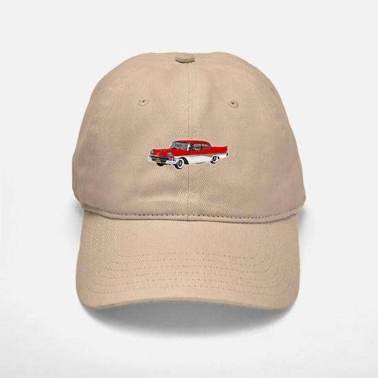 1958 Ford Fairlane 500 Red & White Baseball Baseball Cap