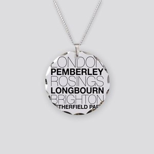 Pride and Prejudice Locations Necklace Circle Char