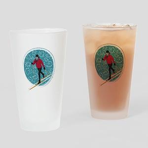 Nordic Ski Girl Drinking Glass