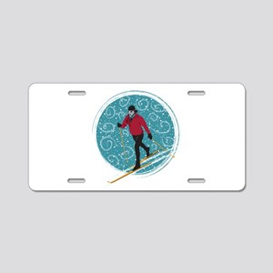 Nordic Ski Girl Aluminum License Plate
