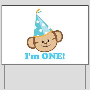 First Birthday Monkey Yard Sign