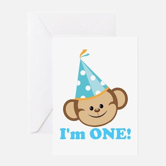 First Birthday Monkey Greeting Card