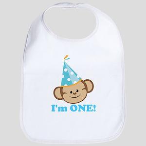 First Birthday Monkey Bib