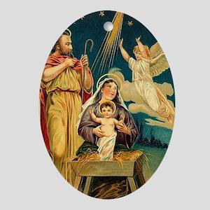 Christmas Nativity Scene Oval Ornament