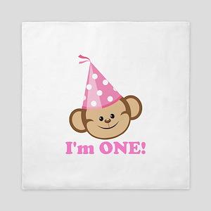 First Birthday Monkey Pink Queen Duvet