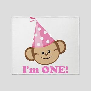 First Birthday Monkey Pink Throw Blanket