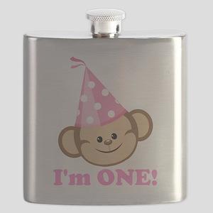 First Birthday Monkey Pink Flask