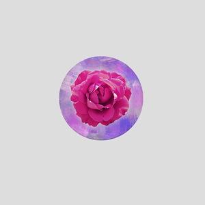 Cerise rose on canvas Mini Button