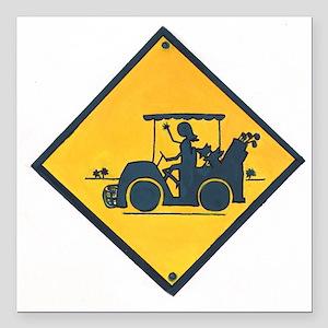 """Ladies Golf Square Car Magnet 3"""" x 3"""""""