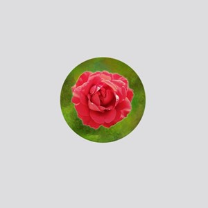 Red rose on yellow and green canvas Mini Button