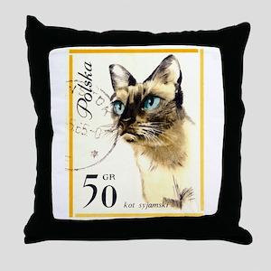 1964 Poland Siamese Cat Postage Stamp Throw Pillow