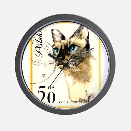 1964 Poland Siamese Cat Postage Stamp Wall Clock