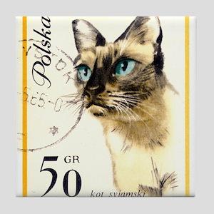 1964 Poland Siamese Cat Postage Stamp Tile Coaster