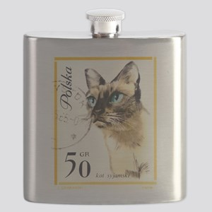 1964 Poland Siamese Cat Postage Stamp Flask