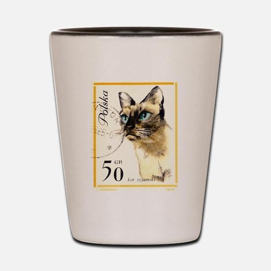 1964 Poland Siamese Cat Postage Stamp Shot Glass