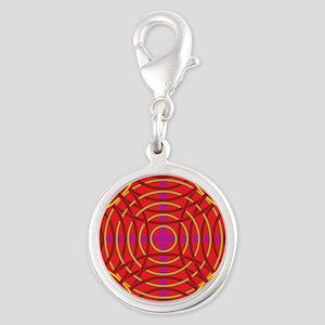 Geometric Design #5 Silver Round Charm
